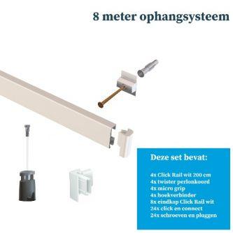 Artiteq- Schilderij ophangsysteem-schilderijophangsysteem-wandophangsysteem-wit ophangsysteem-8 METER (inclusief haken en koorden) 9.6802SA