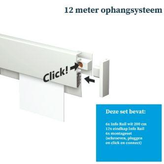 Artiteq Info Rail 6x 200 cm wit schilderij ophangsysteem incl. montageset 9.6861SA