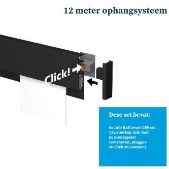 Artiteq Info Rail 6x 200 cm zwart schilderij ophangsysteem incl. montageset 9.6863SA