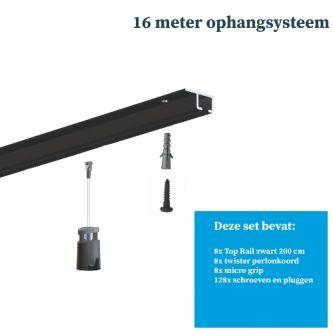 Schilderij ophangsysteem-schilderijophangsysteem-Artiteq-plafondophangsysteem-zwart ophangsysteem-16 METER (inclusief haken en koorden) 9.6834SA