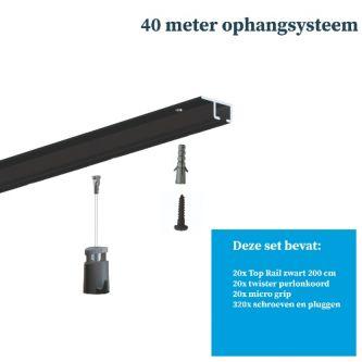 Schilderij ophangsysteem-Artiteq-plafondophangsysteem-zwart ophangsysteem-40 METER (inclusief haken en koorden) 9.6836SA